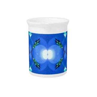 Royal Blue Bright White Fractal Pattern Pitcher