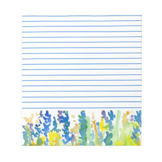 Royal Blue Bright Yellow Watercolor Flowers Lined Scratch Pad