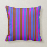 [ Thumbnail: Royal Blue, Brown, and Fuchsia Colored Pattern Throw Pillow ]