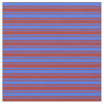 [ Thumbnail: Royal Blue & Brown Striped/Lined Pattern Fabric ]