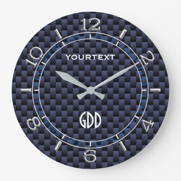 Professional Business Royal Blue Carbon Fiber Style Personalized Dial Large Clock