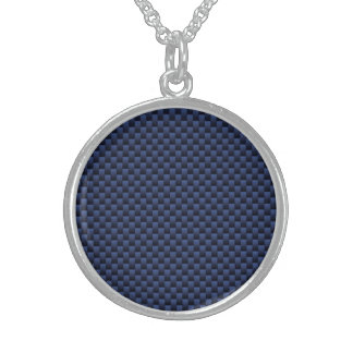 Royal Blue Carbon Fiber Style Weave Print Sterling Silver Necklace