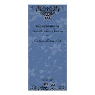 Royal Blue Chandelier Floral Wedding Program Rack Card Template