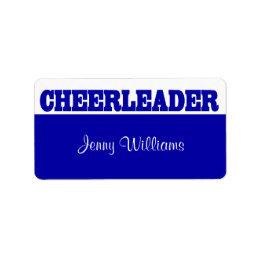 Royal Blue Cheerleader Name Stickers