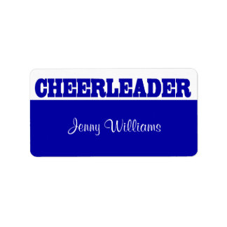 Royal Blue Cheerleader Name Stickers Address Label
