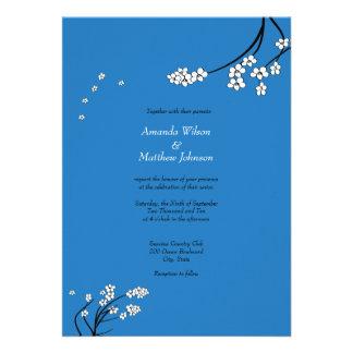 Royal Blue Cherry Blossom Wedding Invitations