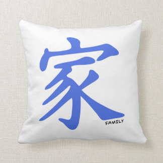 Royal Blue Chinese character for Family Throw Pillow