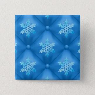 Royal Blue Christmas Snowflake Pattern Pinback Button