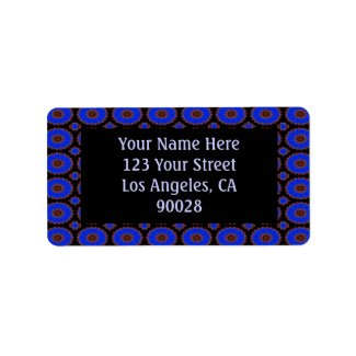 Royal blue circle pattern label