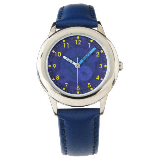 Royal Blue Circular Fractal Kids' Watch