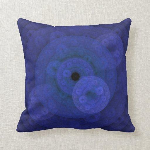Royal blue circular fractal throw pillow zazzle for Royal blue couch pillows