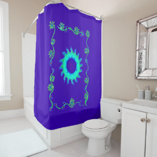 Royal blue classic floral pattern design shower curtain