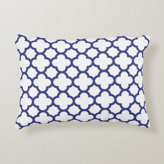 Royal Blue Classic Quatrefoil Accent Pillow