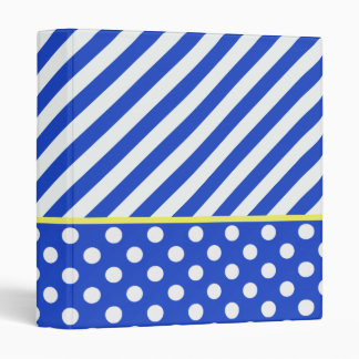 Royal Blue Combination Polka Dots And Stripes Binder