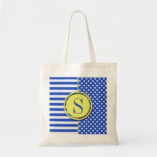 Royal Blue Combination Polka Dots And Stripes Budget Tote Bag