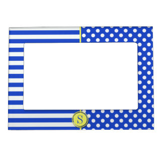 Royal Blue Combination Polka Dots And Stripes Magnetic Picture Frame