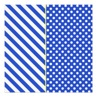 Royal Blue Combination Polka Dots And Stripes Photographic Print