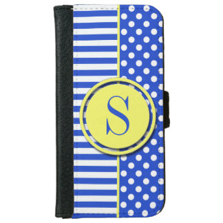 Royal Blue Combination Polka Dots And Stripes iPhone 6 Wallet Case