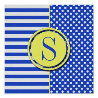 Royal Blue Combination Polka Dots And Stripes Poster