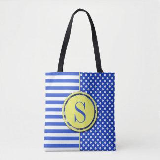 Royal Blue Combination Polka Dots And Stripes Tote Bag