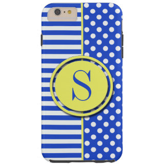 Royal Blue Combination Polka Dots And Stripes Tough iPhone 6 Plus Case