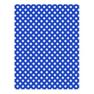 Royal Blue Combination Polka Dots Postcard