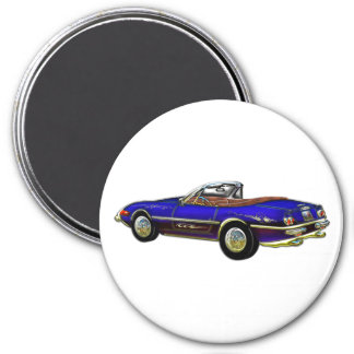 Royal Blue Convertible Sports Car Magnet