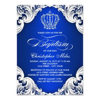 Royal Blue Crown Boy Baptism Card