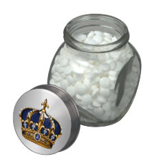 Royal Blue Crown Prince Baby Shower Candy Glass Candy Jars at Zazzle