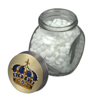 Royal Blue Crown Prince Baby Shower Candy Jar Jelly Belly Candy Jar