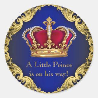 Royal Blue Crown Prince Baby Shower Sticker
