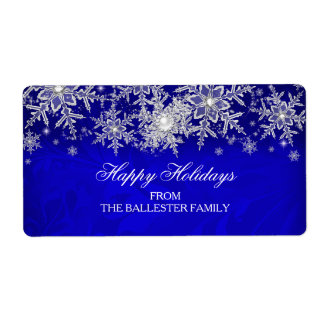 Royal Blue Crystal Pearl Snowflake Happy Holidays Label