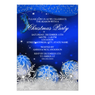 Royal Blue Crystal Snowflake Christmas Party Card