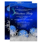 Royal Blue Crystal Snowflake Christmas Party Invitation