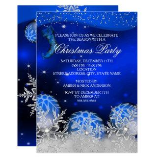 Royal Blue Crystal Snowflake Christmas Party Invitation