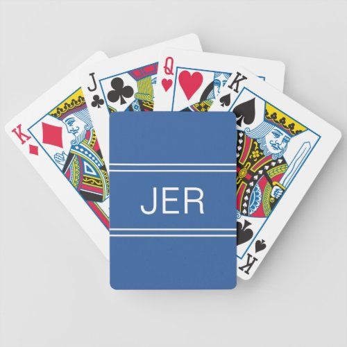 Royal Blue Custom Personalized Monogram Initials Bicycle Playing Cards