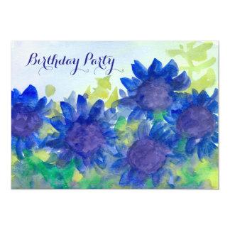 Royal Blue Daisy Flowers 80th Birthday Party Card