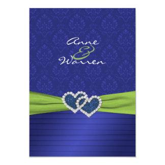"Royal Blue Damask and Pleats Chartreuse Invitation 5"" X 7"" Invitation Card"