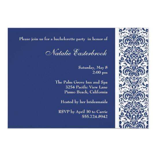 Royal Blue Damask Bachelorette Party Invitation