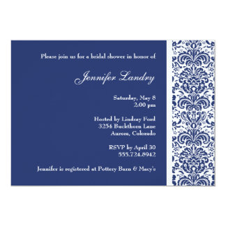 Royal Blue Damask Bridal Shower Invitation