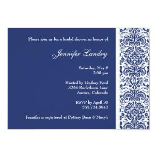 Royal Blue Damask Bridal Shower Invitation