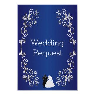 Royal Blue Damask Bridesmaid Request Card