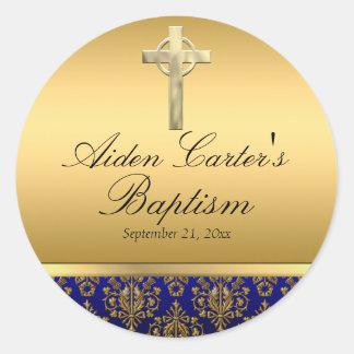 Royal Blue Damask & Cross Baptism Sticker