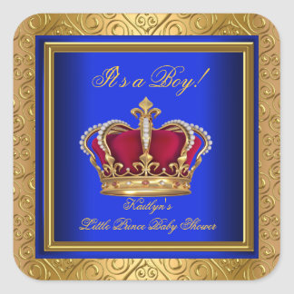 Royal Blue Damask Gold Baby Shower Boy Regal Square Sticker