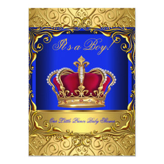 Royal Blue Damask Gold Crown Baby Shower Boy 4 4.5x6.25 Paper Invitation Card