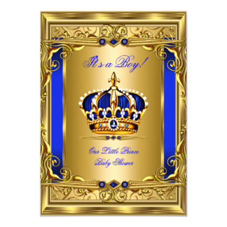 Royal Blue Damask Gold Crown Baby Shower Boy bg5 Card