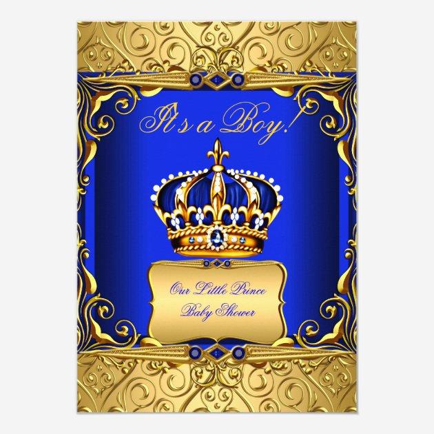 Custom royal baby shower invites templates babyfavors4u royal blue damask gold crown baby shower boy bs2 5x7 paper invitation card stopboris Gallery