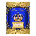 Royal Blue Damask Gold Crown Baby Shower Boy bs2 5x7 Paper Invitation Card