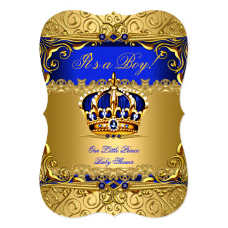 Royal Blue Damask Gold Crown Baby Shower Boy bs5 Card