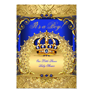 Royal Blue Damask Gold Crown Baby Shower Boy bs6 5x7 Paper Invitation Card